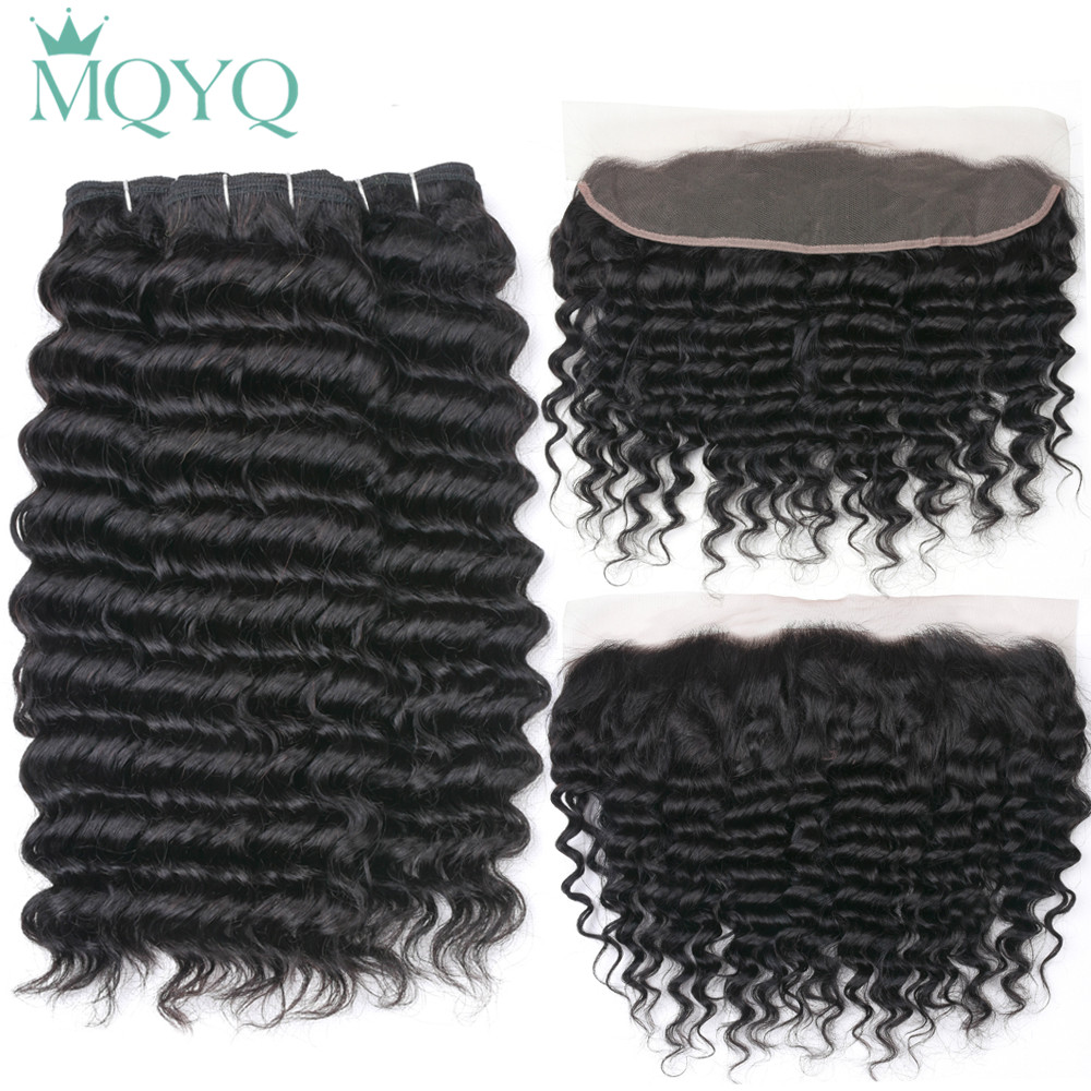 Indian Deep Wave Hair Bundles With Lace Frontal 13 4 Human Hair Bundles With Closure 3