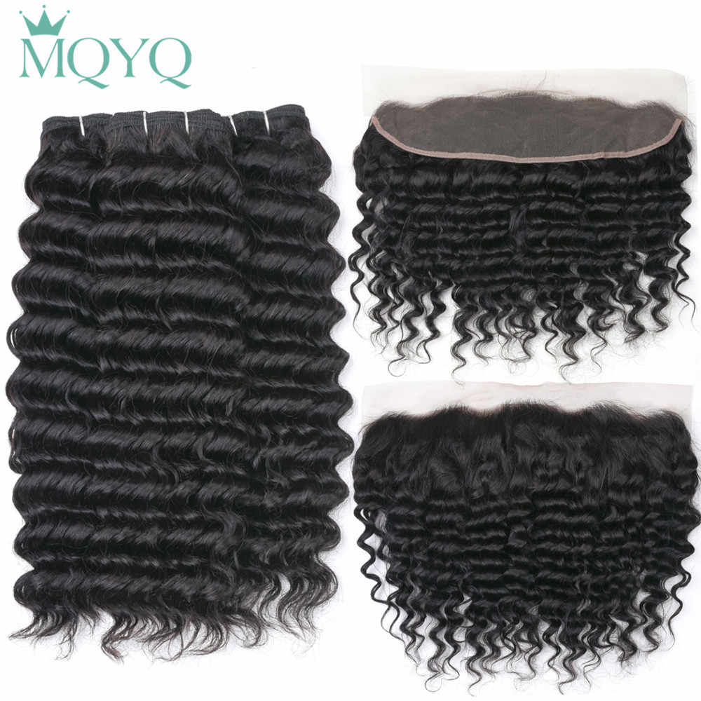 Indian Deep Wave Hair Bundles With Lace Frontal 13*4 Human Hair Bundles With Closure 3/4 Pieces With Ear To Ear Closure Remy