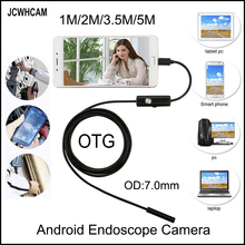 JCWHCAM 5m 3.5m 2m 1m USB Android Endoscope Camera 7mm len Snake Pipe inspection Waterproof OTG Endoscopy