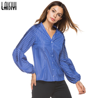 LAISIYI 2018 Spring Striped Blouses Women Lantern Sleeve Button V Neck Shirts Ruched Elegant Blouse Top