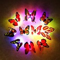 2pcs/lot Butterfly night light  Wall Stickers with retail box RGB LED Lamp Home living kid room Fridage bedroom Random color TW