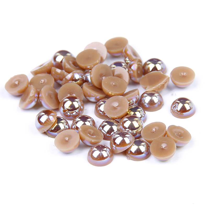 где купить New Arrive Glitter Half Round Pearls Bead Light Coffee AB Color Beauty For 3D Nails Art Backpack Clothes DIY Design Decorations по лучшей цене