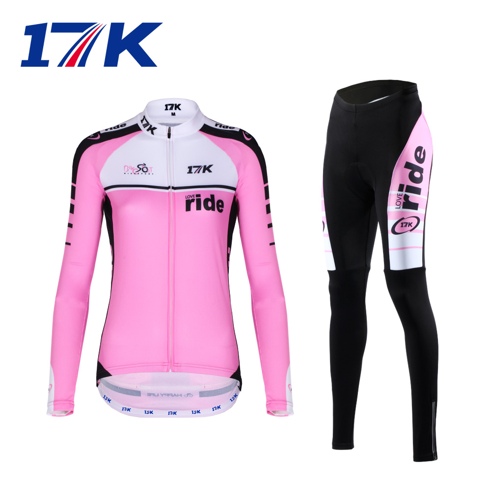 17k summer outdoor cycling jersey long-sleeved shirt riding bicycle riding pants riding clothes suit Ms.