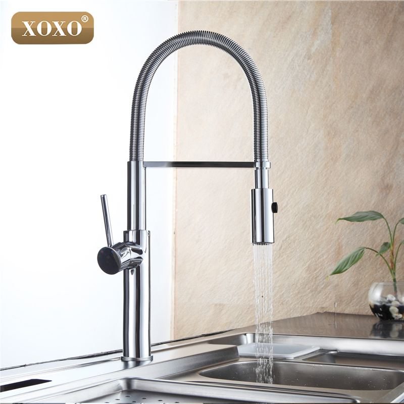 XOXO360 Swivel Solid Brass Single Handle Mixer Sink Tap Down Chrome Kitchen Faucet hot and cold