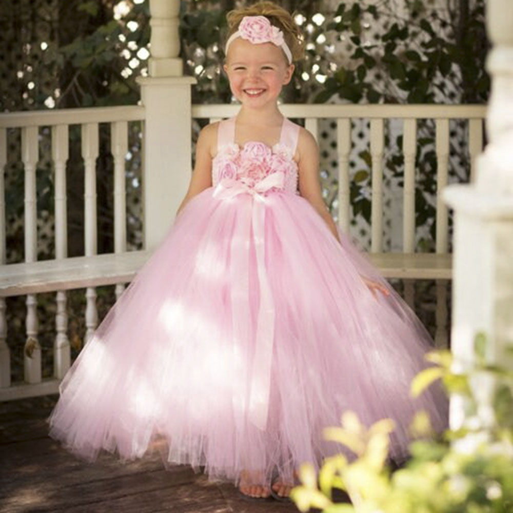Aliexpress buy blush pink flower girl dress with flower aliexpress buy blush pink flower girl dress with flower headband princess girls bridesmaid wedding tutu dresses pink fancy ball gown pt290 from ombrellifo Gallery
