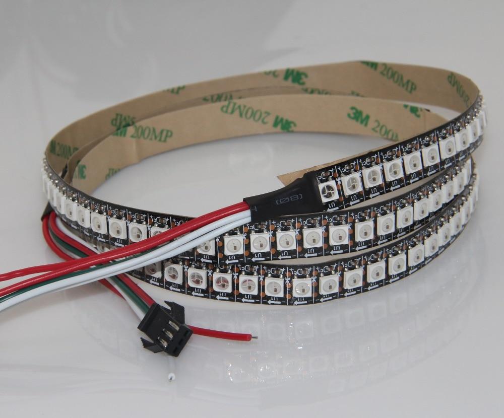 2 M blanc/noir PCB 144 Pixel/M WS2812B WS2812 2812 SMD 5050 pixel LED rvb bandes lumière étanche IP67 + 10 clé RF contrôleur