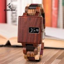 בובו ציפור חדש עיצוב שעון גברים אבוני עץ עדין כיכר שעון Relogio Masculino יום הולדת מתנה אליו זרוק חינם J R23