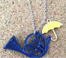 2017 new HIMYM How I Met Your Mother Yellow Umbrella mother Blue French Horn Necklace