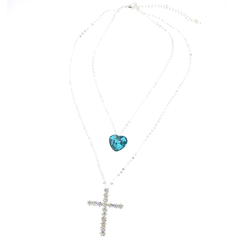 Women Fashion Shiny Cross Heart Love Crystal Gem Pendant Silver Necklace Set Exquisite Girl Wedding Clothing Jewelry Accessories   Aalamey Shop