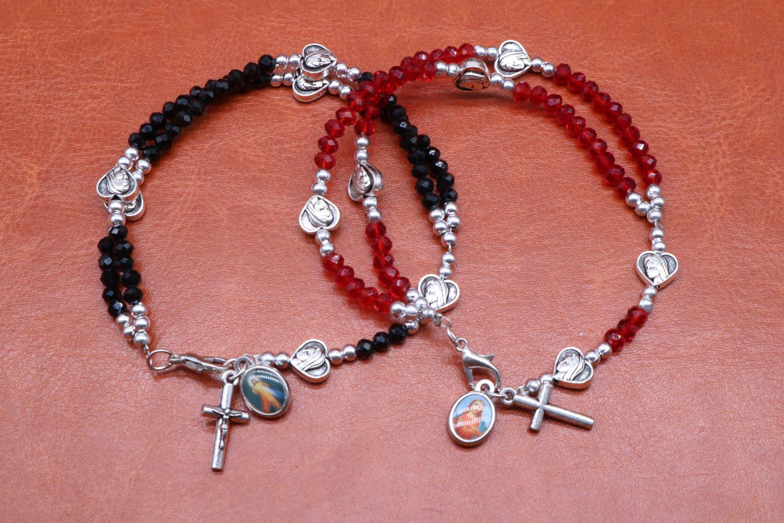 Plastic Rosary Beads Bracelet JESUS SAINTS Maria Angel Fashion ...