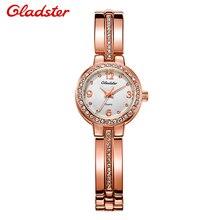 Gladster Moda Horoges Vroumen Mujeres Relojes Pulsera de la Piedra Preciosa de Cristal Bling de Oro Señoras Reloj De montres femme reloj mujer