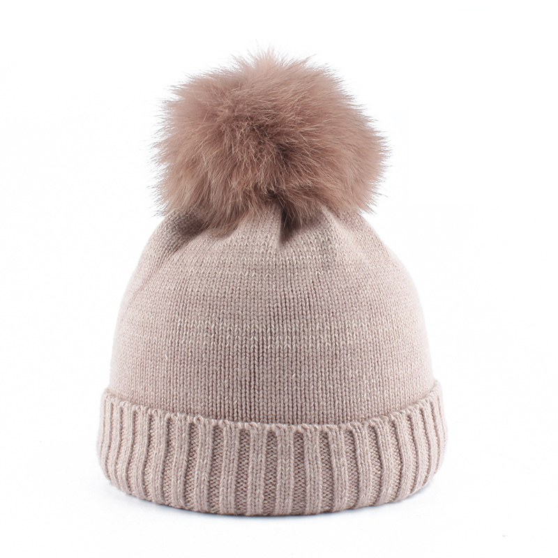 mink and fox fur ball cap pom poms winter hat for children boy girl 's hat kids baby Wool knitted beanies caps(China)