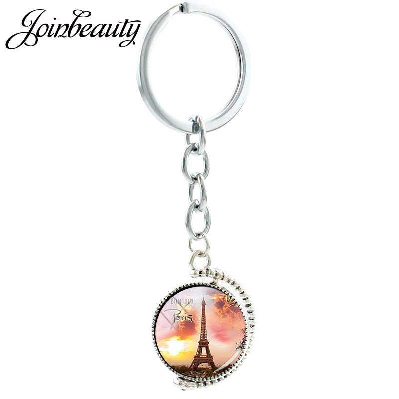 JOINBEAUTY Paris eyfel kulesi sanat yuvarlak cam kubbe çift taraflı kolye anahtarlık turistik hediyelik eşya anahtarlık anahtar sahipleri PR47