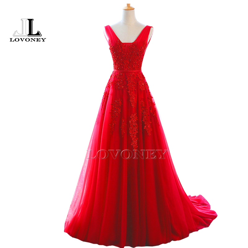 LOVONEY 2019 Hot Sale Elegant A Line V Neck Beading Long Evening Dress Open Back Sexy