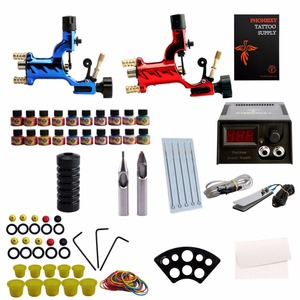 Professional Tattoo Kit 2 Rotary Machine Gun 20 Color Ink Sets Power Supply tips Needles body Art Completed Tattoo Kit Set