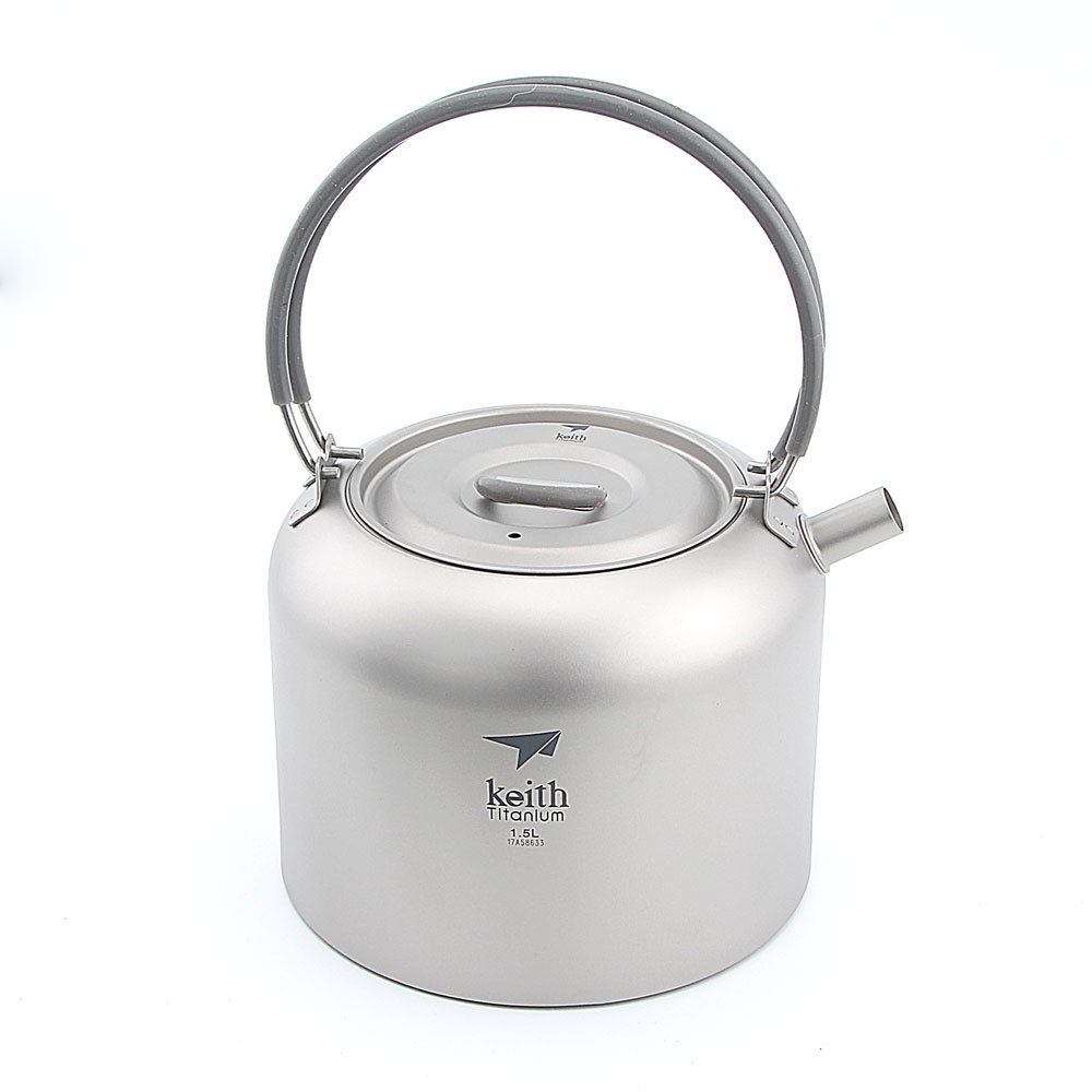 Keith Ti3907 Titanium 1.5L Kettle Camping Picnic Cookware Coffee Tea Water Pot цена