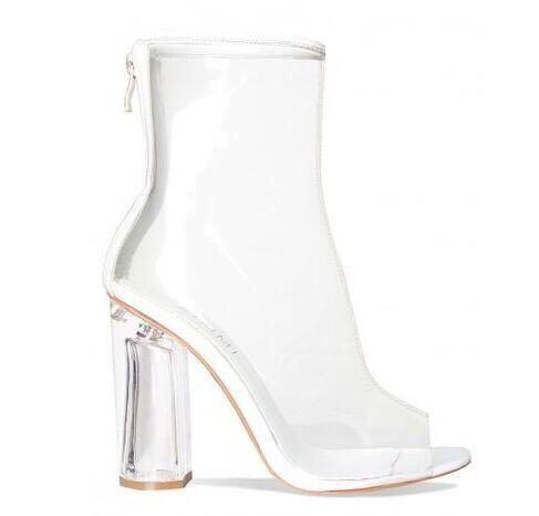 long Pvc Peep Chaussures Toe Femmes L'eau Moto De Toe Pluie Modèle Pointues Avec Bottes Botte short Sandales Nude Imperméable À Marque Talon Luxe vrrq1w