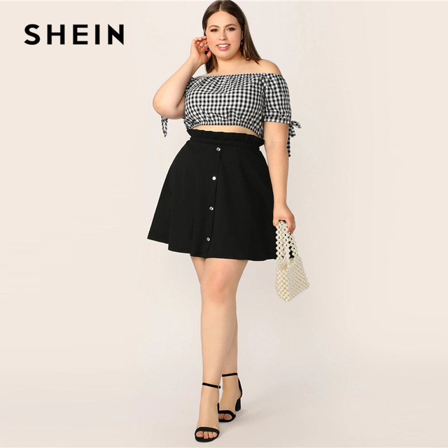 SHEIN Plus Size Black Paperbag Waist Button Up Flare Skirt  2019 Women Summer Casual A Line Solid Big Size Above Knee Mini Skirt 3