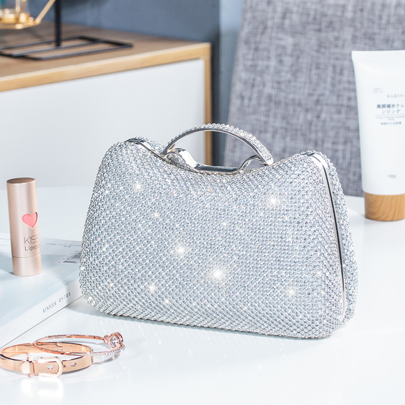 Sparkling Crystal Beading Bridal Wedding Party Bags Crossbody Handbags Lady Full Diamond Rhinestone Clutches Cocktail Small