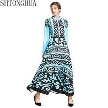 3228cfb2f5ad SHTONGHUA 2019 nuove donne di Estate elegante sottile casuale O collo del  partito Runway stampa floreale di Lunghezza Della Cavi.