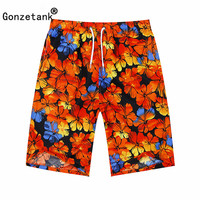 GONZETANK 2017 Summer Men High Waisted Beach For Bermuda Sweat Casual Jogger Cargo Swimsuit Autumn Leaves