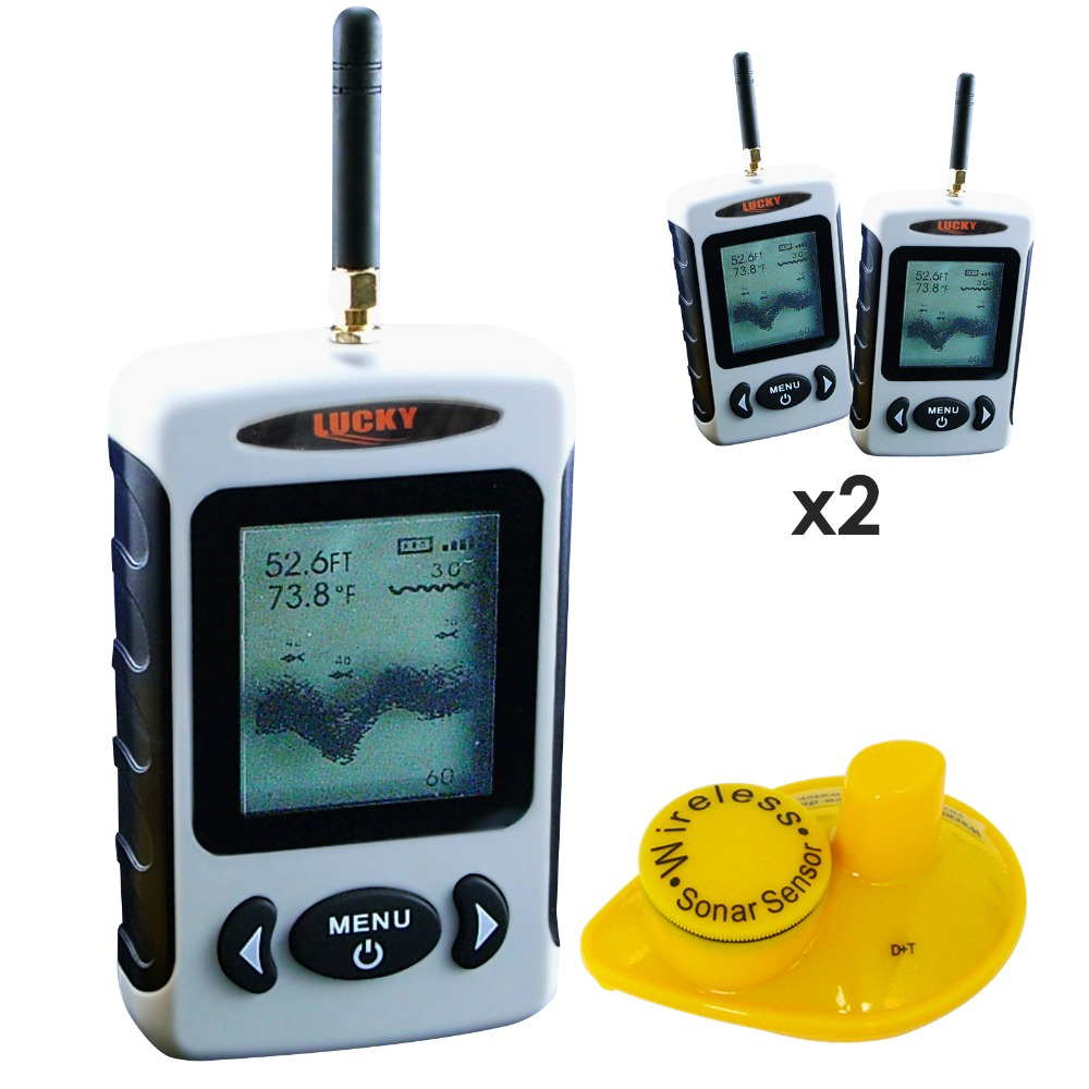 2 pieces x LUCKY Professional Digital FFW-718 Wireless Fish Finder Sonar Radio Sea Bed Contour Live Update 45M lot of 2 эхолот скат два луча lucky ff 718 duo