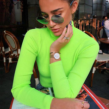 Saimishi Rib Knit Jumper Autumn Neon Green Fashion Women High Neck Long Sleeve Slim Fit Sweaters Fluorescent Color Tops