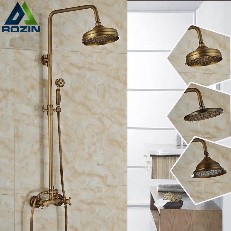Luxury Brass Antique Dual Hand Shower Mixer Set Faucet Wall Mounted 8 Rain Bathroom Handshower Faucet Taps antique brass 8 rain shower faucet set double corss handles tub mixer hand unit