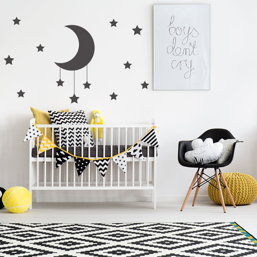 Large Size Hanging Moon And Stars Wall Stickers For Kids