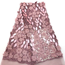 High Quality 3d African Net Lace Fabrics With Sequins French Fabric Nigerian for Dress HX1408-1