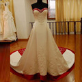 2015 Hot Sale Sweetheart Custom made White and Red wedding Dress Embroidery Lace Bridal Gown hochzeitskleid vestido casamento