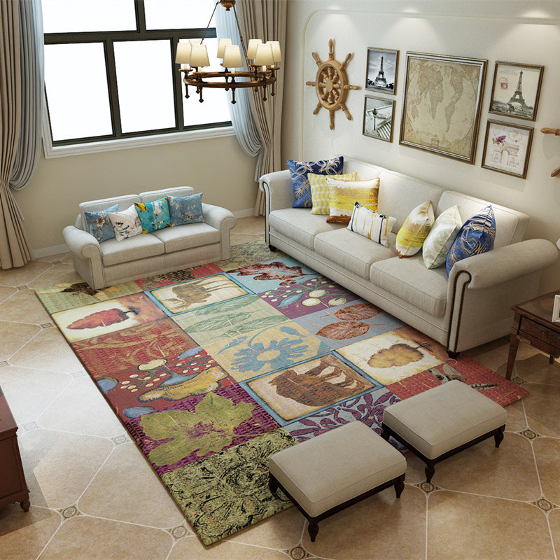Tapis de campagne américaine pour salon maison tapis et tapis pour chambre Table basse tapis de sol anti-dérapant tapis d'étude