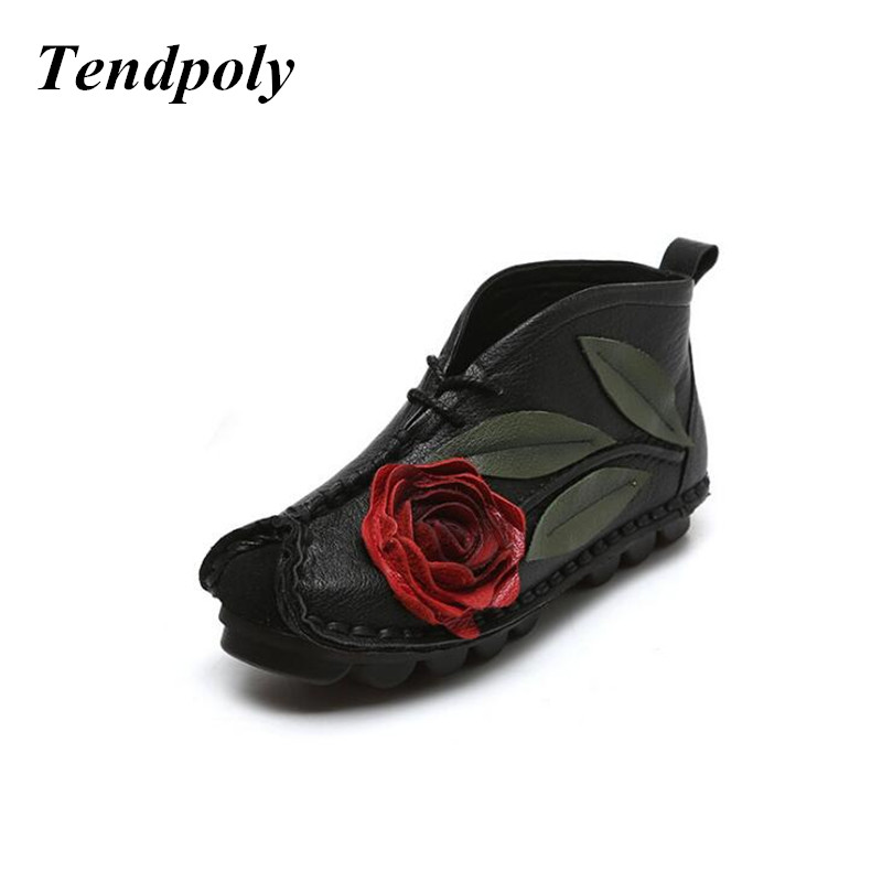 2018 spring and autumn new national style leather fashion flat shoes casual and comfortable trend soft bottom women's shoes tept79001 trend ready letters casual style