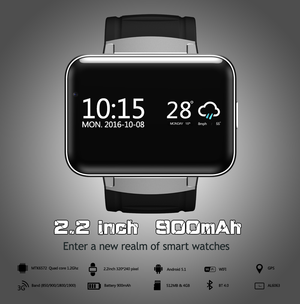 DM98 Смарт-часы Android 5,1 MTK6572A 2,2 Дисплей 320*240 светодио дный Dual core 1,2 г 900 мАч Камера WI-FI 3g QQ gps приложение для смартфонов