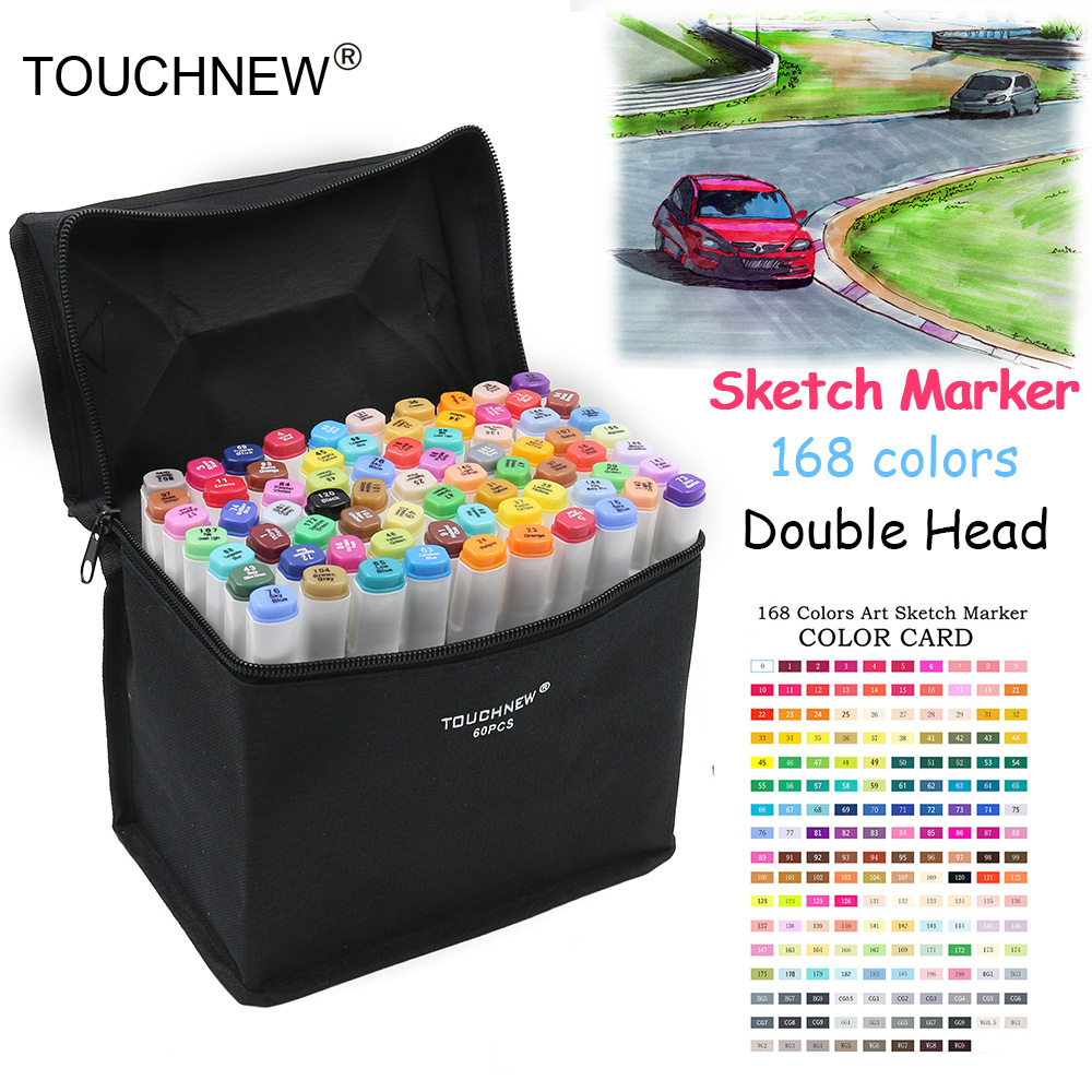 TOUCHNEW 168 Color Sketch Markers Pen Oily Alcoholic Painting Manga Dual Headed Art Marker Set Stationery Pen For School Drawing touchfive 80 color sketch markers pen oily alcoholic painting manga dual headed art marker set stationery pen for school drawing page 7
