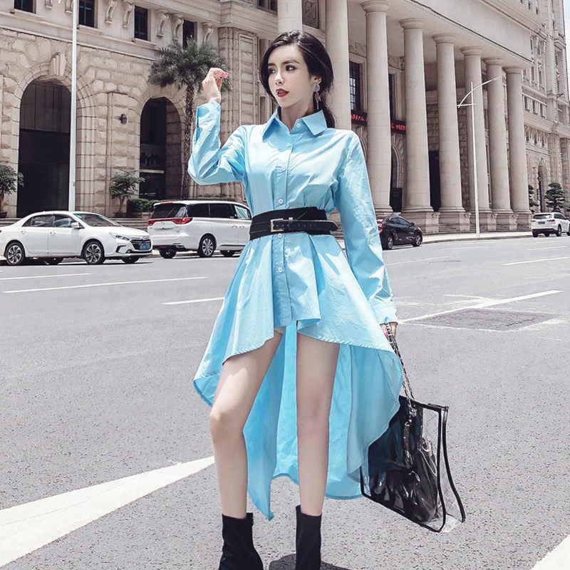 Hàng Mới Về Phụ Nữ Thời Trang Áo Sơ Mi Tay Dài Đầm Nút Elbise Bayan 2019 Mới Dài Tay Mùa Xuân Không Đều Đầm Thắt Lưng Vestidos f396