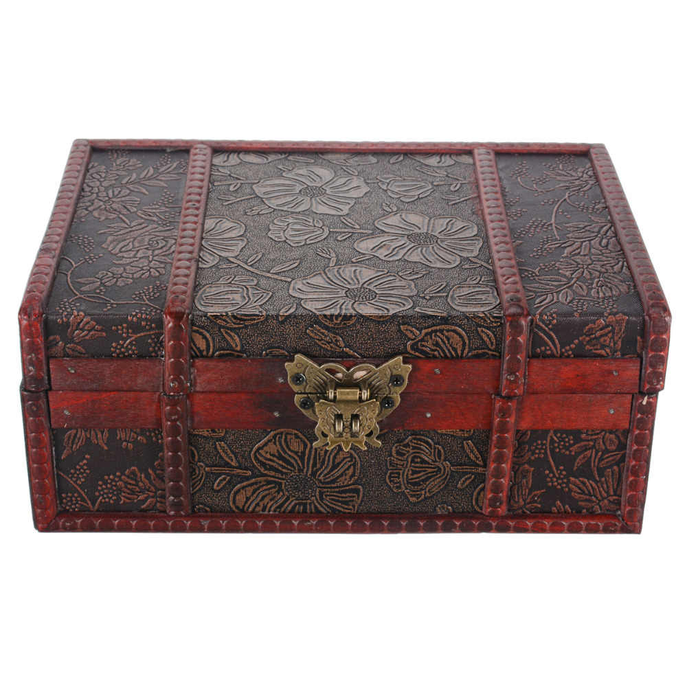Large Wooden Decorative Jewelry Lock Chest Handmade Trinket Storage Box Classical Wooden Treasure Case For Decoration Organizer