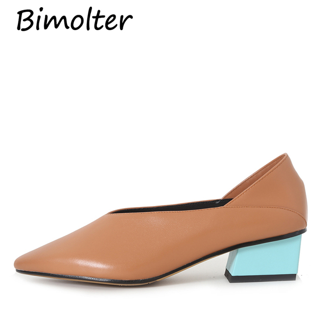 Bimolter Contrast Color Pumps For Women Thick Heels Natural Cow Leather Pointed Toe Shoes Lady Fashion Casual Footwear NC095