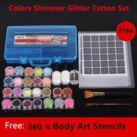 24 Colors Professional TattooKit Shimmer Glitter Beauty Art Makeup Stencil Brush Glue Diamond Body Paint Set Henna Tattoo Kit
