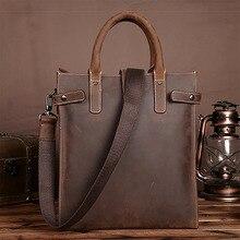 Men Vintage Handbag Crazy Horse Genuine Leather Business Tote Briefcase Men Tablet PC Bag Famous Brand Messenger Shoulder Bags