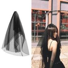 1pc 3m Bridal Veil Facial Gauze Simple Silk Organdy Beautiful Black White for Wedding Party