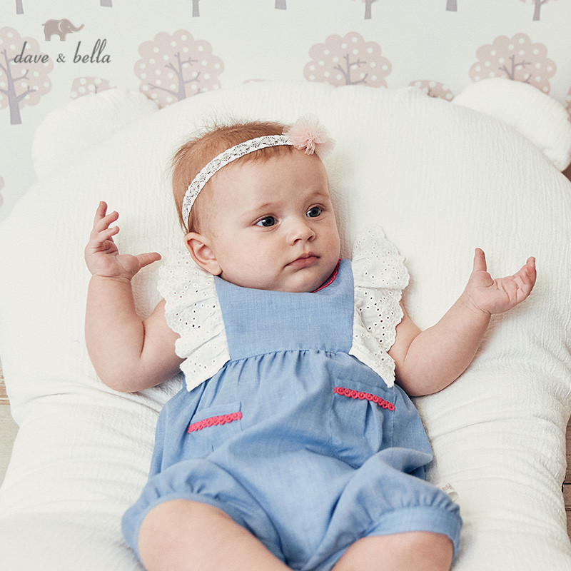 DBH10821 Dave bella new born baby girls fashion  solid pullover jumpsuits infant toddler clothes children summer romper 1 pieceDBH10821 Dave bella new born baby girls fashion  solid pullover jumpsuits infant toddler clothes children summer romper 1 piece