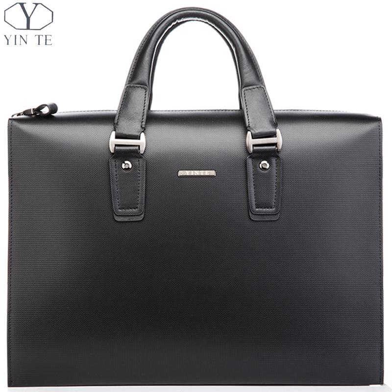 YINTE Classic Men's Black Briefcase Leather Men's Handbag Business Messenger Bag Shoulder Bag Men's Totes Portfolio T8203-6 yinte leather men s briefcase black bag fashion business messenger totes laptop bag ostrich prints men s portfolio t8518 6