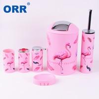 Free shipping flamingo Bthroom set Accessroies toilet brush soap dish dustbin Washing tumbler toothbrush cup soap dispenser ORR