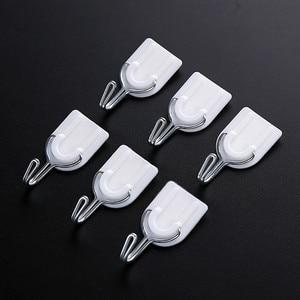Image 3 - Ganchos 2019 6/12 Uds gancho con adhesivo fuerte Pared Soporte de suspensión adhesivo para la puerta de la cocina baño blanco