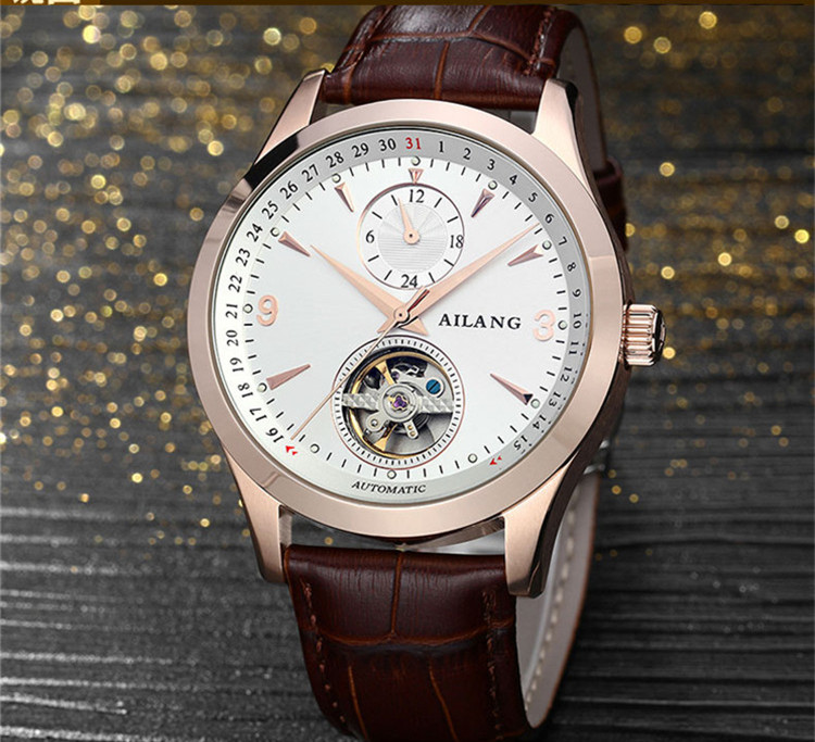 Fashion AILANG Brand Tourbillon Businessmen Dress Watches Auto Self Wind Men Statement Wrist watch Leather Analog Relojes W003 brand ailang men tourbillon automatic watches self wind real leather business dress wrist watch moon phrase relojes 3atm nw3302