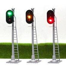 �� 3 pçs modelo ferroviário sinais 3 luzes bloco modelo luz do tráfego 1: balança de 87 ho 12v