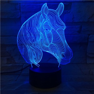 Image 3 - Creative Animal Horse Head 3D Lamp Gift LED USB Mood Night Light Multicolor Luminaria Desk Table Kid Toy Gadget Prop Home Deocr