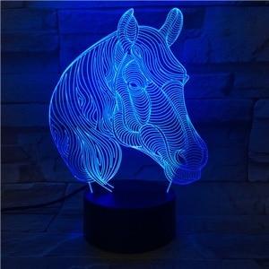 Image 3 - Lámpara LED 3D con cabeza de caballo, Animal creativo, regalo, lámpara de Noche de Ambiente, Luminaria Multicolor, mesa de escritorio, Chico, juguete, Gadget, decoración para el hogar