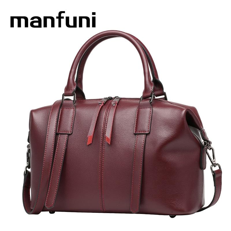 MANFUNI Genuine Leather Handbags Fashion Woman Shoulder Bag Tassel Casual  Ladies Crossbody Bag Bolsos Casual ToteTravel Bag